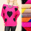 hurtownia Fashion & Moda: C22146 Piękny  Sweter Tunka,  Serca & Dżety, ...
