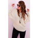 Großhandel Fashion & Accessoires: A8110 Frauen Oversize-Pullover, Perlen Vorne