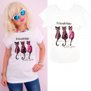 K545 Cotton T-Shirt Top, Cats Friendship White