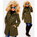 wholesale Coats & Jackets: 4411 Long Womens Jacket with Fur, Khaki