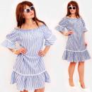 Großhandel Kleider: BI809 Romantisches Frauenkleid mit Volants, Baumwo