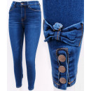 B16765 Women Jeans, Bows and Naps, Blue