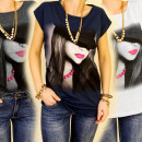 3777 BLOUSE, MIX  TOP FOTO-DRUCK ROSA LIPSTICK
