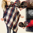 wholesale Pullover & Sweatshirts: FL340 SUPER poncho, PINS, CHECKRED PATTERN