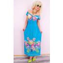 Großhandel Fashion & Accessoires: C17508 Damen Kleid, Blumen und schönen Ausschnitt