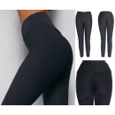 Women Push Up Leggings, Sporty, S-XL, Black, 5893