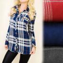 Großhandel Hemden & Blusen: BI524 Modische Bequeme Hemd Tunika, Gitter