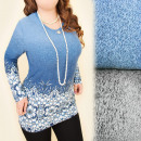 C11346 Bluse, Tunika, Ombre, Perlen, große Größen
