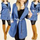 Großhandel Mäntel & Jacken: BI144 schicke  Mantel, Jacke mit Kapuze Jeans