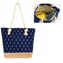 wholesale Miscellaneous Bags: Large Beach Bag, Anchors, Navy Blue B10A92