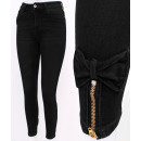 wholesale Jeanswear: B16769 Women's Jeans, Sliders and Bows, Black