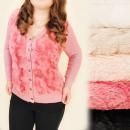 C17371 Warm  Ellegant Pullover mit Fell, große Größ