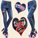 wholesale Jeanswear: B16455 PANTS  JEANS, TUBE, TRENDY Patches