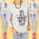 groothandel Kleding & Fashion: A821 katoenen dames-sweater, doe dingen With love