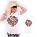 K558 pamut T-Shirt , felső, Flamingo, fehér