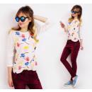 Großhandel Hemden & Blusen: D1492 Klassische, lose Basic-Bluse mit Blumenmuste