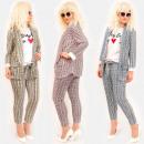 Großhandel Hosen: EM96 Damenanzug Mantel + Hose, Gitter