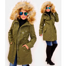 wholesale Coats & Jackets: 4412 Long Ladies' Jacket with Fur, Green