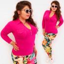 Großhandel Hemden & Blusen: 4588 Daily Bluse, Top Plus Size, V-Ausschnitt