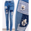 wholesale Jeanswear: B16762 Women's Jeans, Crystals, Pearls and Pat