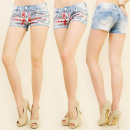 wholesale Jeanswear: B16517 BEAUTIFUL  JEANS SHORTS, FRONT BRITISH FLAG
