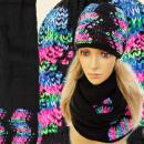 Großhandel Kopfbedeckung: FA20 NICE SET CAP  + Schal, bunte Muster, jets