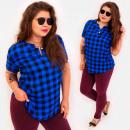 Großhandel Hemden & Blusen: C11558 Plus Size Bluse, goldene Knöpfe, kariert