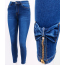 B16768 Women Jeans Pants, Sliders and Bows, Blue