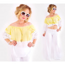 wholesale Shirts & Blouses: D1460 Pastel Blouse with Lace, Summer Loose