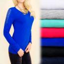 ingrosso Ingrosso Abbigliamento & Accessori: D2663 Top Camicia  in Cotone, Inserti in Pizzo