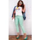 B16676 Waxed Women Trousers, Push-Up, Mint