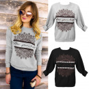 groothandel Kleding & Fashion: K503 Loose dames sweater, blouse, kanten print