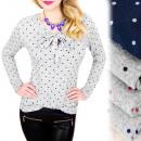 Großhandel Hemden & Blusen: C11444 Romantische Bluse mit Schleife, gepunktet