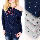 Großhandel Hemden & Blusen: C11447 Attraktive Bluse, weiter Halsausschnitt, Sc