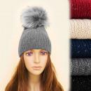 Großhandel Kopfbedeckung: FL634 Winter, warme Mütze, groß, Fell Pompon