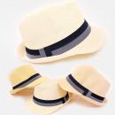 Großhandel Kopfbedeckung: C1982 Unisex Strandhut, Stroh, Streifen