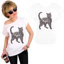 K548 T-Shirt coton, dessus, chat noir, blanc