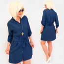 R94 Tied Dress, Loose Tunic, Shirt Style, Navy