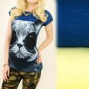 Großhandel Fashion & Accessoires: K428  Baumwollbluse,  Top, Wildkatze in ...