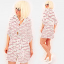 wholesale Dresses: R98 Tied Dress, Loose Tunic, White & Dots