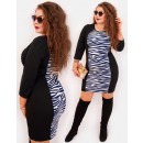 4398 Pencil Dress, Slim Plus Size, Zebra pattern