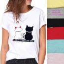 grossiste Vetement et accessoires: Chemise Femme Jusqu'à 4XL, coton, Cats Love 60
