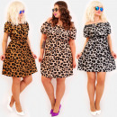 groothandel Kleding & Fashion: C17544 Romantische jurk, Grote maten, Leopard