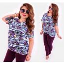 Großhandel Hemden & Blusen: 4519 Bunte Plus Size Woem-Bluse, Gürtel und Rosen