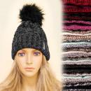 Großhandel Kopfbedeckung: C17399 Warm, Mütze, Hut, Pelziger Pompon, ...