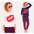 N022 Casual dames sweater, Sweet Kiss Print