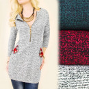 Großhandel Hemden & Blusen: BI611 Pullover lose Tunika, Gold Slider, Heather
