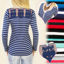 D2605 WOMEN'S  BLOUSE TOP STRIPED, LACE OWLS