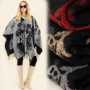 grossiste Pulls et Sweats: A1206 Cape poncho double face, motif ornemental