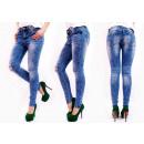 B16706 Frauen Hosen Jeans, Murmeln, Löcher